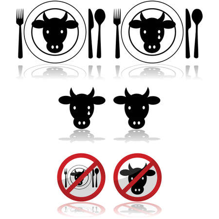 animal abuse: Icon set showing a cattle head combined with a plate and signs to represent beef Illustration