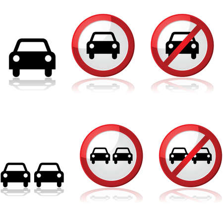 single lane road: Icon set showing traffic signs with one or two cars Illustration
