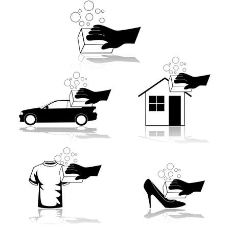 Icon set showing a hand scrubbing a house, shirt, shoe or car clean Çizim