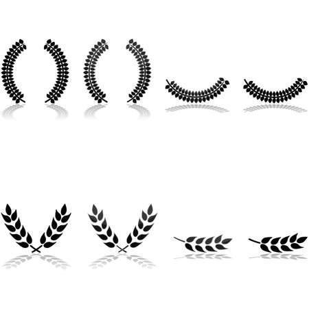 icon set showing laurels arranged in different patterns and with different graphic styles