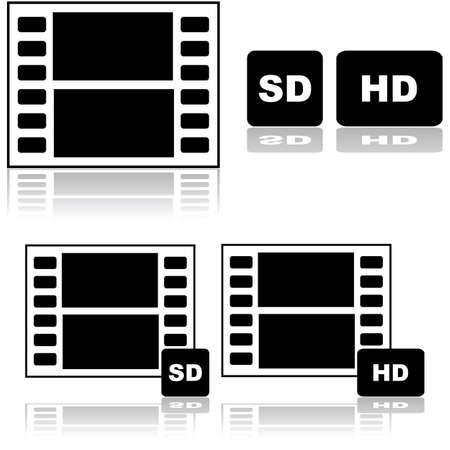 identifiers: Icon set showing a film strip with SD and HD identifiers, for standard and high definition resolution