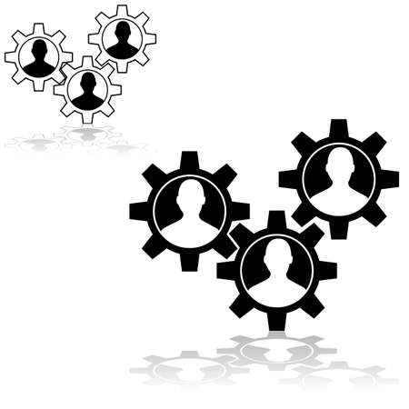 Concept illustration showing machine gear wheels with the outline of a person inside Ilustração
