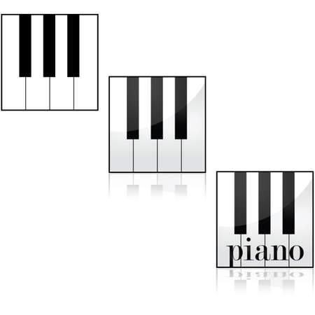 Icon set showing some piano keys using different styles