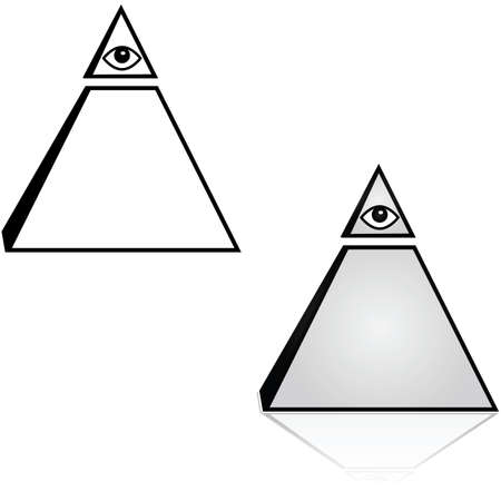 Concept illustration showing a pyramid with an eye on top
