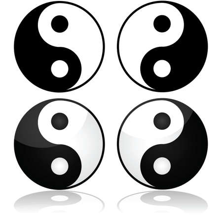 yinyang: Icon set showing the traditional yin-yang symbol represented in different styles