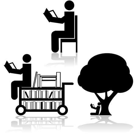 persona leyendo: Icono de conjunto que muestra una persona que lee en diferentes escenarios