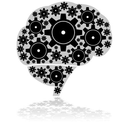 Concept illustration showing a human brain made up of machine gear wheels Ilustração