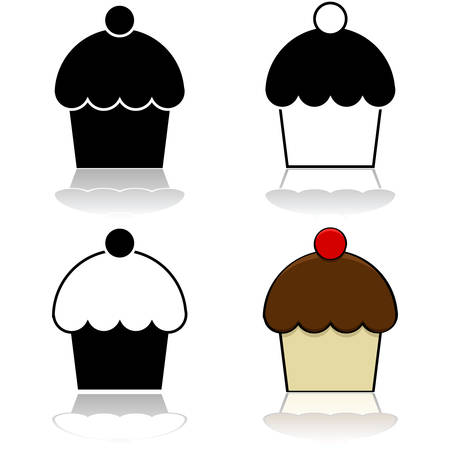 Drawing of a cupcake represented in different graphic styles