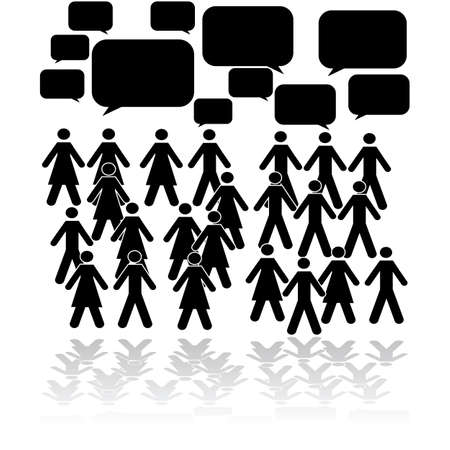 Concept illustration showing a group of people talking at the same time