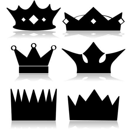 Icon set showing different types of royal crowns