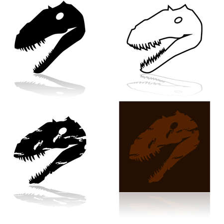 artifact: Icon set showing the skull of a dinosaur Illustration