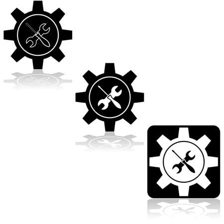 Icon set showing a machine gear combined with a wrench and screwdriver Çizim