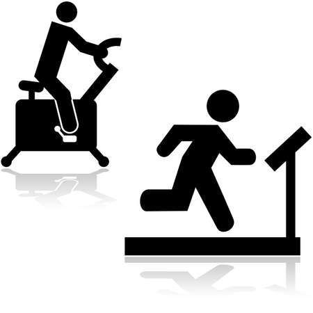 Icons showing a person running on a treadmill and riding a stationary bike