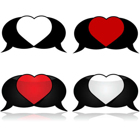 Icon set showing a couple of speech bubbles intersecting to form a heart Ilustração