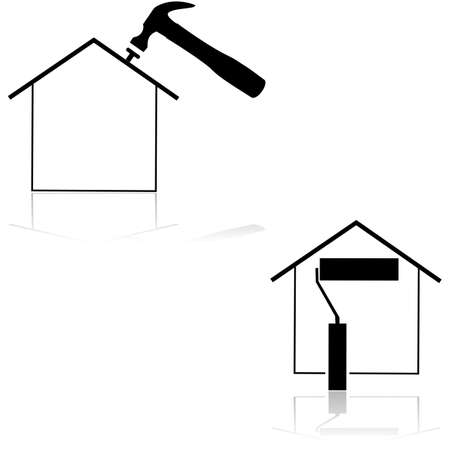 handyman cartoon: Icons showing a house with a hammer and paint roll
