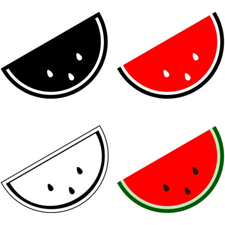 representations: Icon set showing different representations of a slice of watermelon