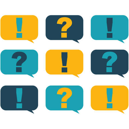 Flat style design speech bubbles with question and exclamation marks Ilustrace