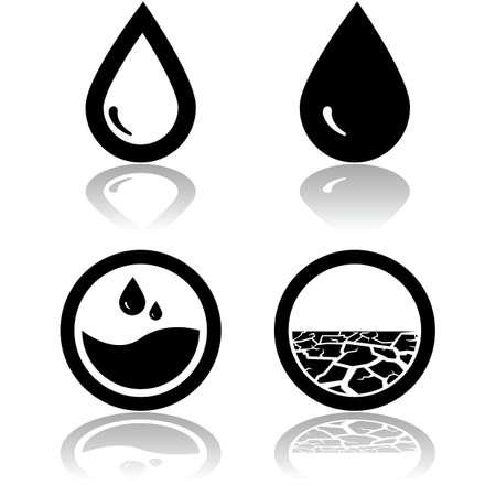 sequias: Los iconos que muestran el agua y también los terrenos afectados por la sequía