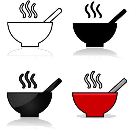 Icons showing a bowl of soup represented in different graphic styles Ilustração