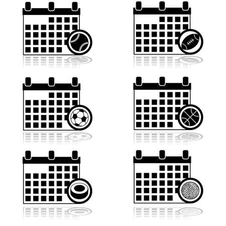 Icon set showing a calendar combined with different sports