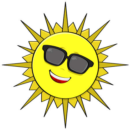 Cartoon illustration showing the sun wearing shades and smiling