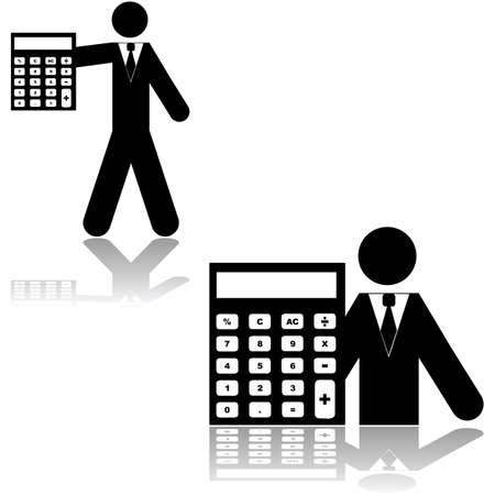 Icon showing a person alongside a calculator, symbolizing an accountant Ilustração