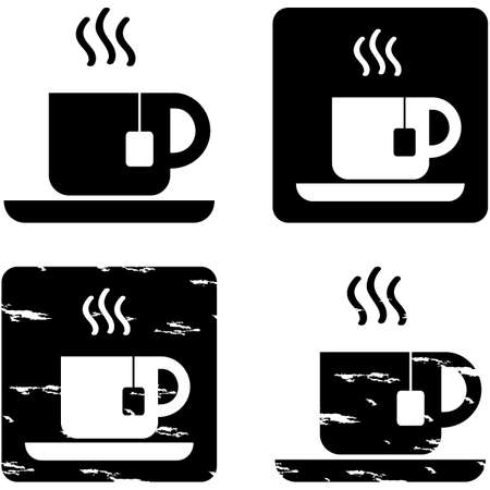 Icons showing a cup of tea represented in different graphic styles Ilustração