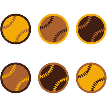 inning: Icon set showing a baseball in flat style design using different colors Illustration