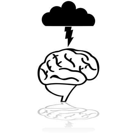 Concept illustration showing a brain with a cloud and lightning over it to symbolize a brainstorm session Vectores