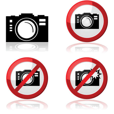allowing: Icon set showing different signs for allowing or prohibiting photography Illustration