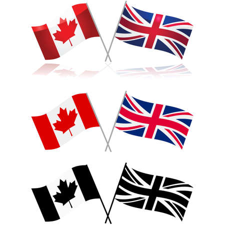 Icon set showing variations of the Canadian and United Kingdom flags side by side Иллюстрация