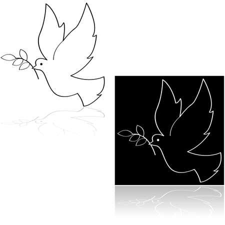 paloma caricatura: Icono de conjunto que muestra una paloma de la paz que lleva una rama