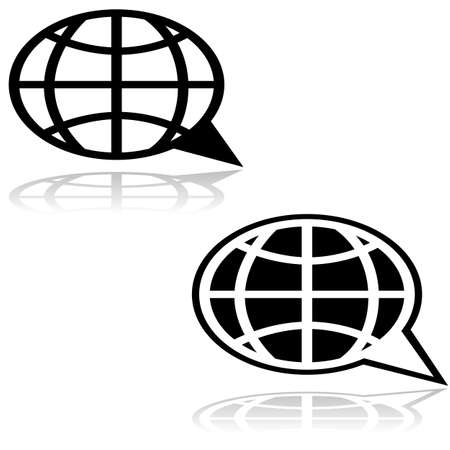 Icon illustration showing a cartoon speech bubble combined with a globe map