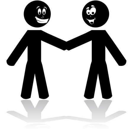 Cartoon illustration showing two stick figure characters shaking hands Ilustração