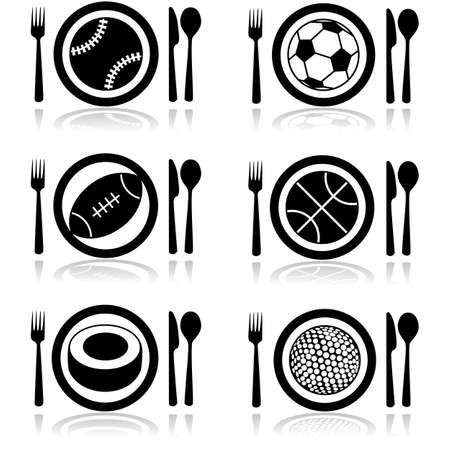balones deportivos: Icono de conjunto que muestra un plato con cubiertos y balones deportivos Vectores