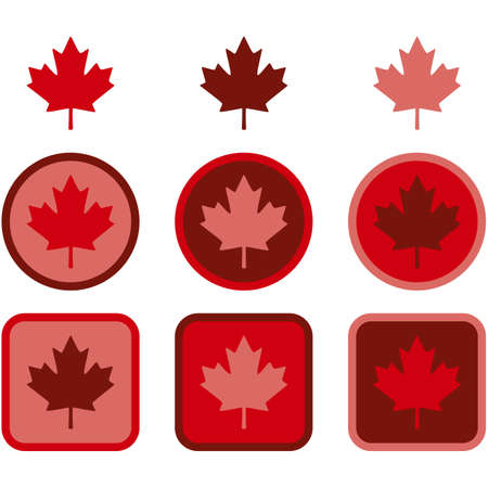 Icon set showing a maple leaf represented in flat design using different shades of red