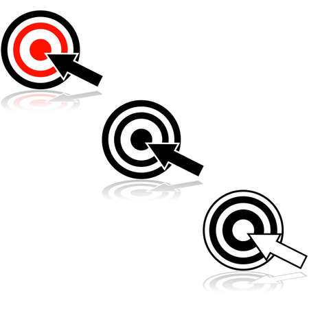 Icon showing an arrow hitting the middle of a target Ilustração