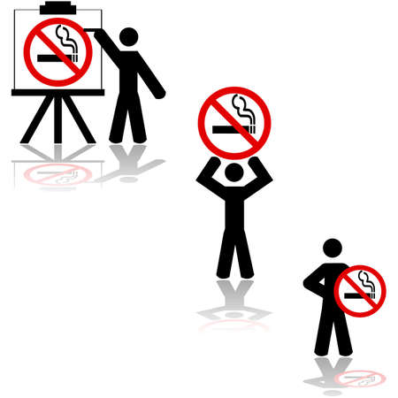 different ways: Icon set showing a man displaying a no smoking sign in different ways Illustration