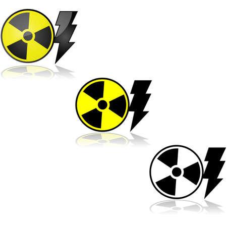 radioactive sign: Icono de conjunto que muestra una muestra radiactiva al lado de un rayo, que representa la energ�a nuclear