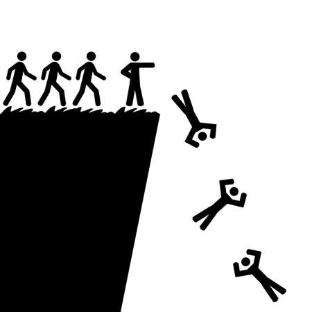 telling: Concept illustration showing a person telling others to jump off a cliff