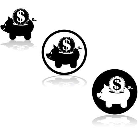 Icon set showing a piggy bank with an oversized coin being inserted into it