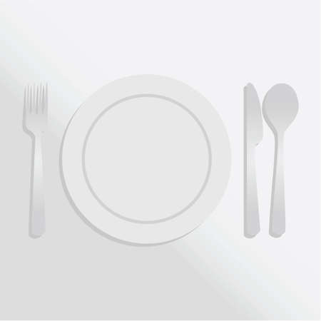 silver cutlery: Gradient illustration showing a white plate and silver cutlery over a white tablecloth