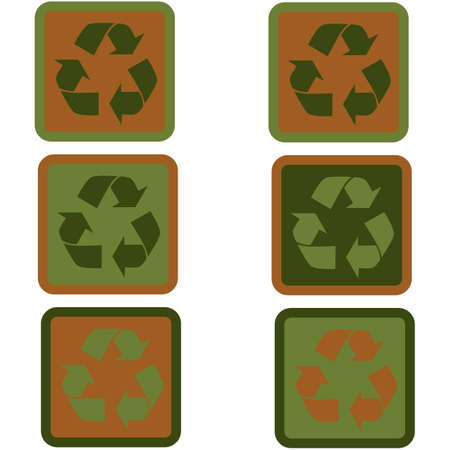 Icon set showing a recycling sign in flat design using different shades of green and brown