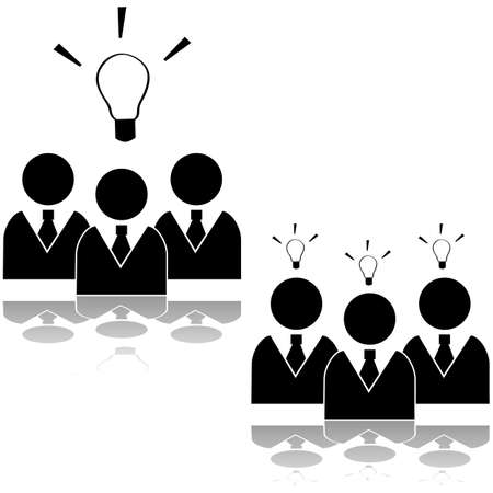 Icon set showing a team of businessmen having an idea or three separate ones