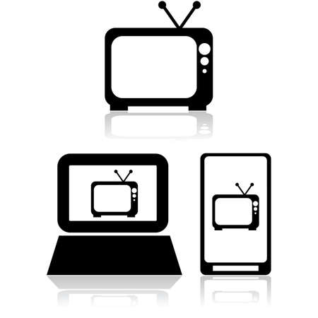 Icon set showing an old television set by itself and also inside a computer and mobile device
