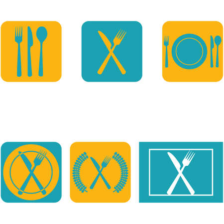 Icon set showing a plate combined with cutlery in a flat design in blue and orange