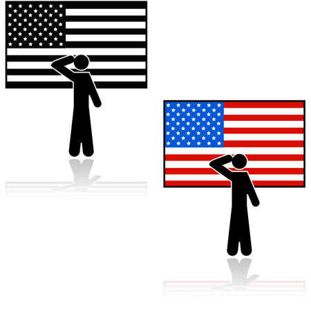 Concept illustration showing a person saluting in front of an American flag Иллюстрация