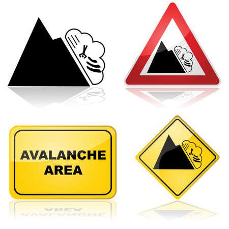 alertas: Icono de conjunto que muestra diferentes signos y alertas para un �rea propensa avalancha