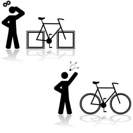 figuring: Concept illustration showing someone having a problem with a bicycle that has square wheels and then figuring out that its solved with round ones
