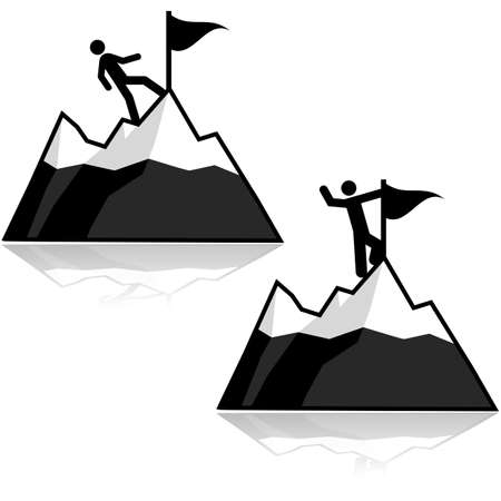summit: Icon set showing a man climbing a mountain and reaching its summit